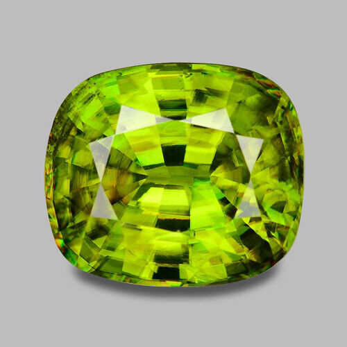 7.96CTS EXCELLEN CUSHION CUT NATURAL CHARTUESE GREEN SPHENE VIDEO IN DESCRIPTION