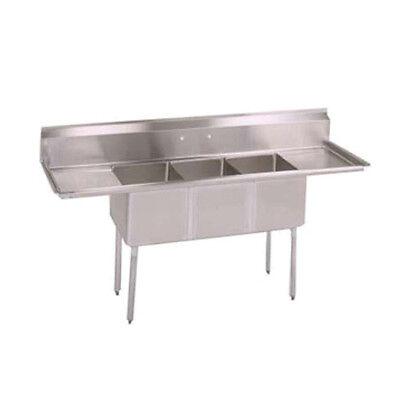 John Boos E3s8-1220-12t12 E-series Three Compartment Sink W Two 12 Drainboards