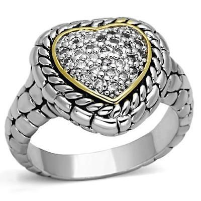 Pave Set CZ Heart Shape Classic Cable Rhodium Ring Size -