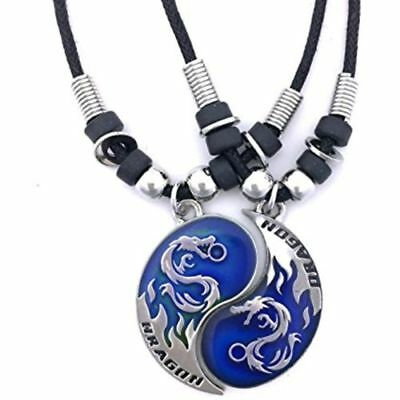 New BEST FRIEND Dragon Yin Yang 2 Pewter Pendant Necklaces Set - Mood Pendant
