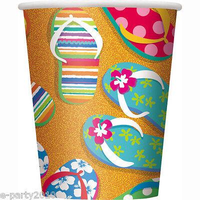 Flip-flop Party Supplies (SUMMER Flip FLop Fun 9oz PAPER CUPS (8) ~ Summer Birthday Party Supplies Drink)