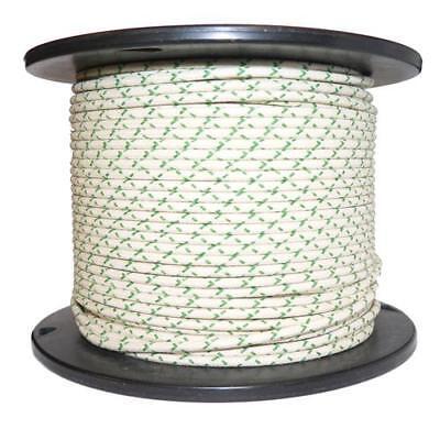 1M Algodón Trenzado Automotive Eléctrico Cable 16 Medidor Blanco & Verde Mancha