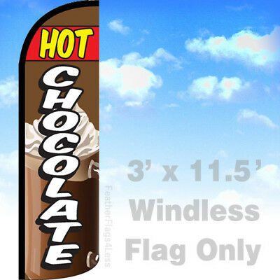 Hot Chocolate Windless Swooper Feather Flag 3x11.5 Banner Sign - Q