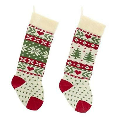 Kurt Adler Red, Ivory And Green Christmas Tree And Snowflake Knit Stockings - Green Christmas Stockings