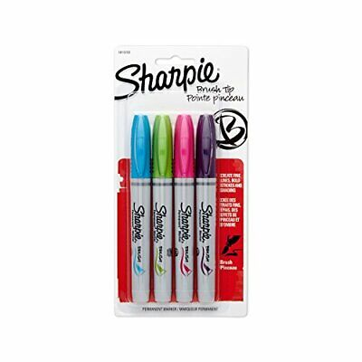 Sharpie 1810702 Brush Tip Permanent Marker Assorted Colors 4-pack