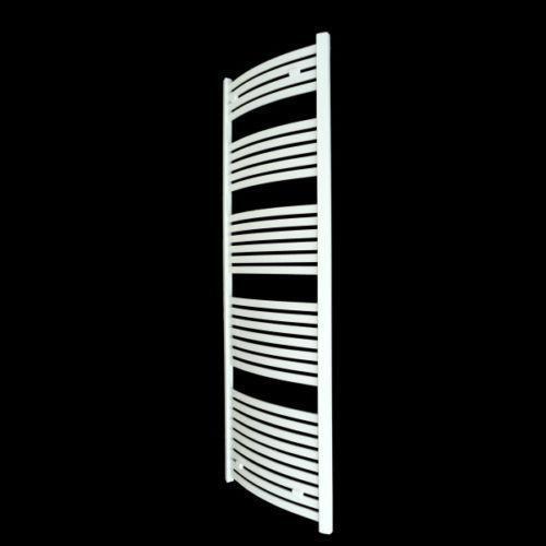 Aura 25 Curved Electric Towel Warmer Chrome White: White Curved Towel Radiator