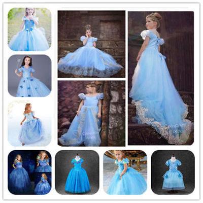 Hot Sandy Princess Cinderella Cosplay Costume Kids Girls Party Fancy Dress.Gown~