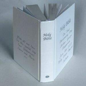 WHITE Christening gift bible -Personalised on front & back cover, boxed.