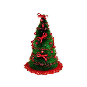 Dollhouse miniature compact decorated christmas tree for Miniature tree decorated with sea shells