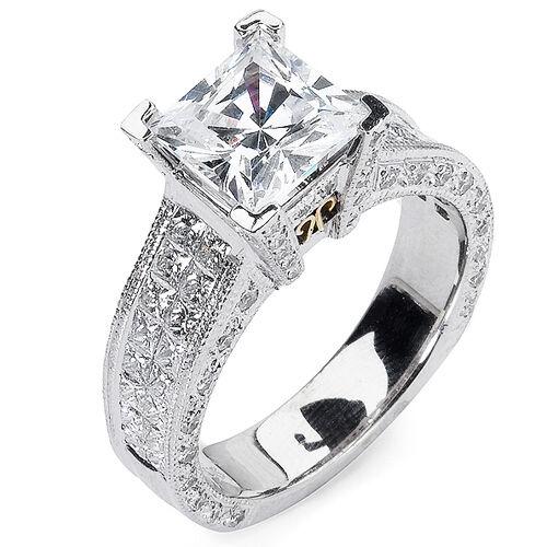 3.67 Ct Invisible Setting Pave Princess Cut Diamond Engagement Ring Platinum GIA