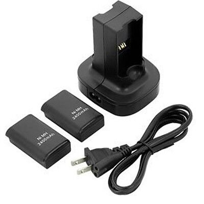Dual Battery Charger Charging Station Dock + 2x Battery For Xbox 360 Controller