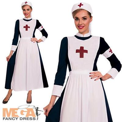 War Nurse Ladies Fancy Dress WW1 Florence Nightingale Uniform Womens Costume