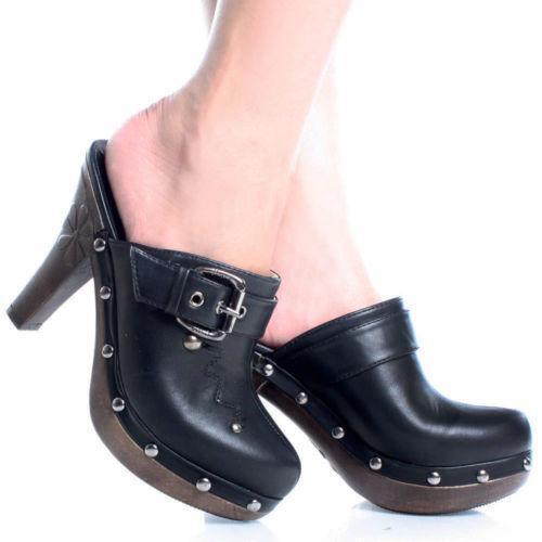 Image result for black high heeled clogs