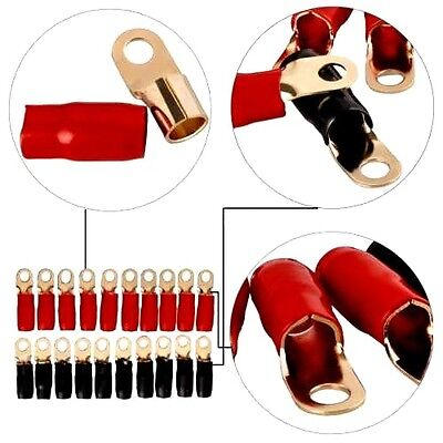 """4 Gauge Gold Ring Terminal 20 Pack 4 AWG Wire Crimp Cable- Red/Black Boots 3/8"""""""