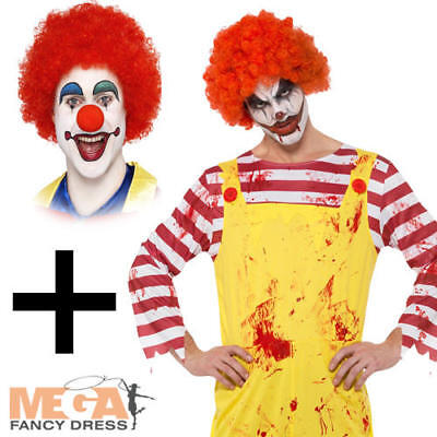 Killer Clown + Wig Mens Fancy Dress Halloween Circus Ronald Mcdonald Costume