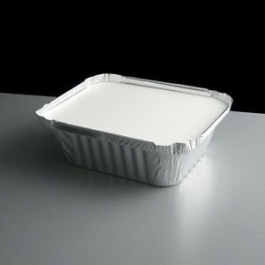 100 Silver Aluminium Foil Containers & Lids Size 2 Trays Takeaway Indian Chinese