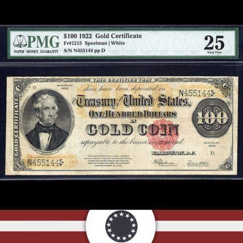 1922 100 Gold Certificate Ebay