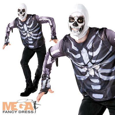 Fortnite Skull Trooper Tween Fancy Dress Boys Computer Gaming Character Costume