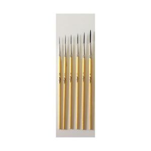 Kafka Design Series Scriptliner Pinstriping Paint Brush Set of 6, Sizes 5/0 - 4