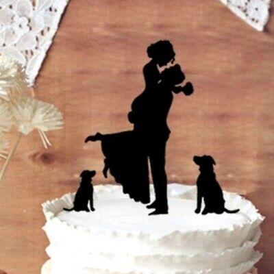 Caketopper Tortenfigur Hochzeit MR MRS Hund Hunde Brautpaar Familie schwarz neu