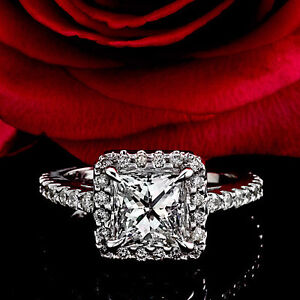 2.08 CT G/VS2 HALO PRINCESS CUT DIAMOND ENGAGEMENT RING 14K WHITE GOLD