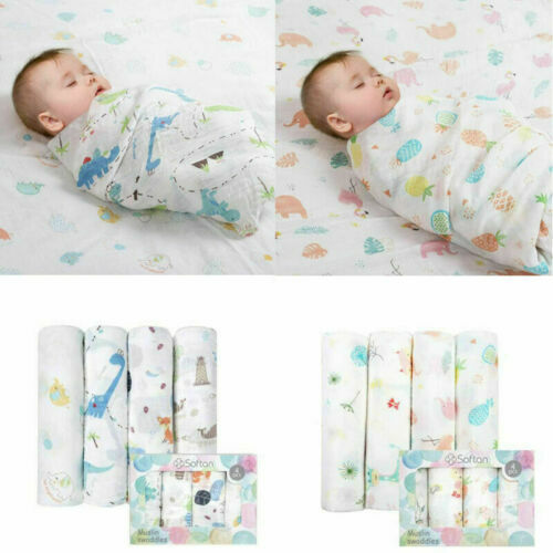 4PCSMuslin Baby Swaddle Blankets Bamboo Receiving Blankets for Newborn