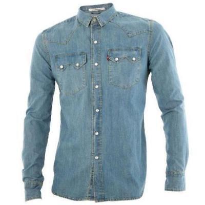 Levi's Men Classic Long Sleeve Denim Button Up Casual Dress Shirt 81004 Classic Denim Dress Shirt