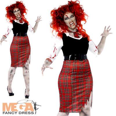 Zombie School Girl Ladies Halloween Fancy Dress Plus Size Horror Adults Costume