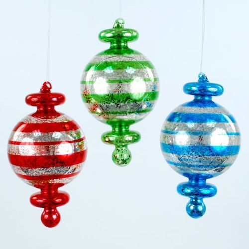 """FINIAL STRIPE Large 7.5"""" Set of three Glass Christmas Ornaments Gift Boxed NEW"""