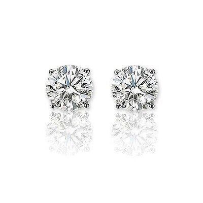 Wg 1 Carat Diamond Stud (1.25 CARAT E SI1 14K WG WHITE ROUND CUT DIAMOND STUD)