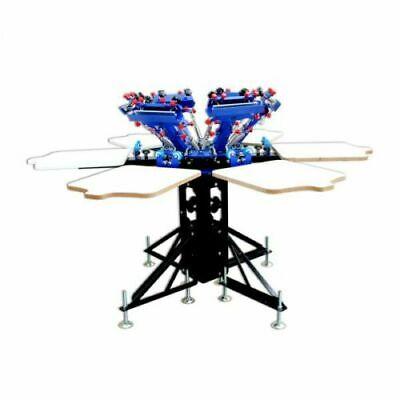 6 Color 6 Station Screen Printing Machine Micro-adjust Rotatable T-shirt Press