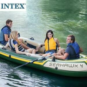 OB 4 PERSON INFLATABLE BOAT SET 68351EP 246885693 Intex Seahawk 4 Aluminum Oars High Output Air Pump OPEN BOX