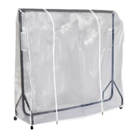 Clear protective cover for garment hanging rail