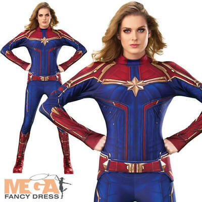 Captain Marvel Hero Suit Ladies Fancy Dress Comic Book Superhero Adults Costume  (Marvel Comic Fancy Dress Kostüme)