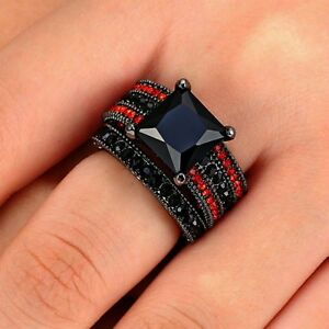 10KT BLACK GOLD FILLED SAPPHIRE 2PC RING