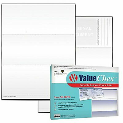 ValueChex UV Secure Check Paper- Blank Check Stock - Business Check On Top, Canv](Secure Check)