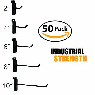 Black Slatwall Hooks Combo Pk Of 50 Assorted Sizes10 Of Ea 246 8 10