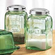 Green Depression Salt and Pepper Shakers