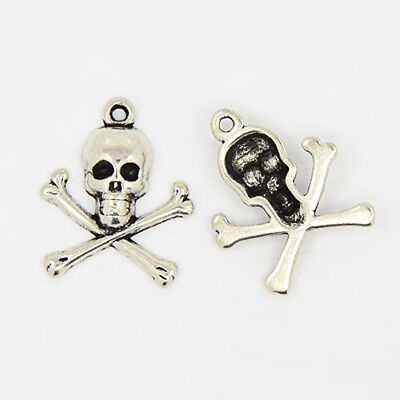 4 Skull and Crossbones Charms Antiqued Silver Pirate Pendants Gothic - Skull Charms