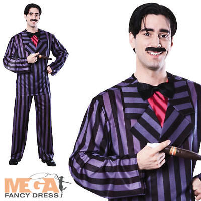 Gomez Addams Mens Fancy Dress Halloween Movie Adams Family Adults Costume Suit - Gomez Halloween Costume