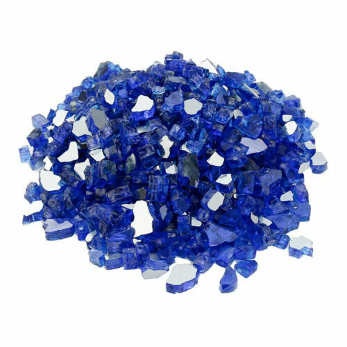 """High Luster 1/2"""" Reflective Tempered Fire Glass Fire Pit Cobalt Blue 10 Pounds"""