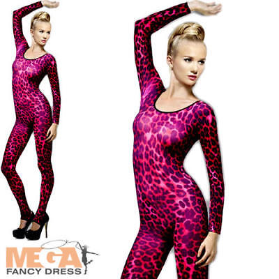 Cheetah Print Costumes (Pink Cheetah Print Bodysuit Ladies Fancy Dress Halloween Animal Costume)