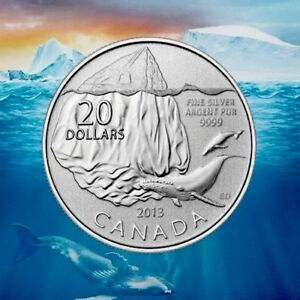 SILVER COIN 2013 CANADA $20 FOR $20 ICEBERG & WHALE 99.99% Ag