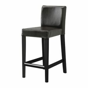 Three IKEA HENRIKSDAL Leather Bar Stools