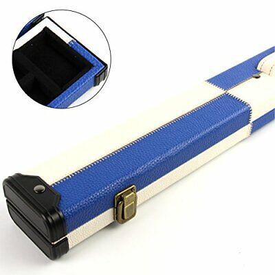 BLUE and WHITE PATCH Luxury Snooker Pool Cue Case  For 2 Piece Centre Joint Cue