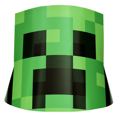 MINECRAFT CONE HATS (8) ~ Birthday Party Supplies Favors Creeper Video Game - Cone Hats