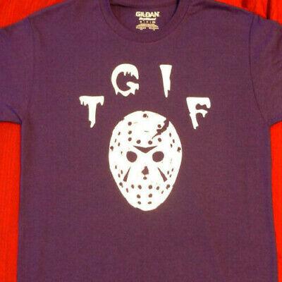 small purple tee shirt TGIF Jason Voorhees Hockey Mask Friday 13th scary humor