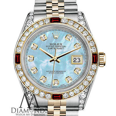 Rolex 31mm Datejust Baby Blue MOP Diamond Face with Ruby SS & 18k Ladies Watch
