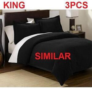 NEW RH 3PC DUVET COVER SET KING - 121751858 - RESTORATION HARDWARE BLACK VELVET BEDDING