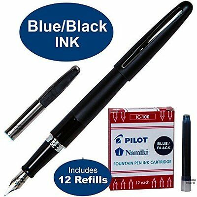 Pilot Metropolitan Fountain Classic Pen Black w 12 Blue/Black Refill Cartridges